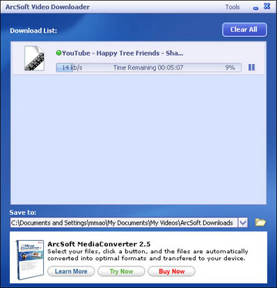 ArcSoft Video Downloader screen shot