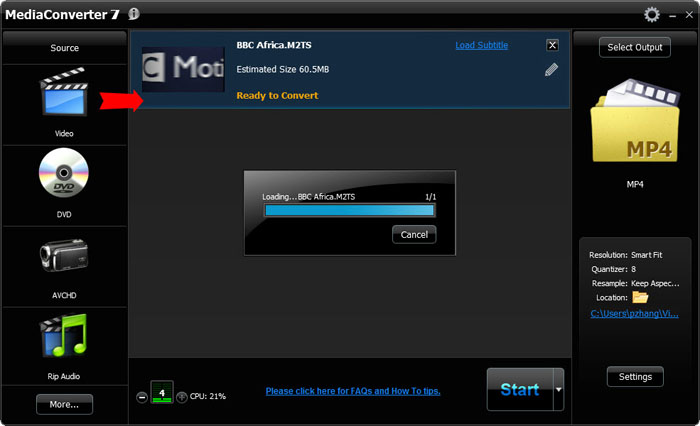 Convert M2TS to MP4