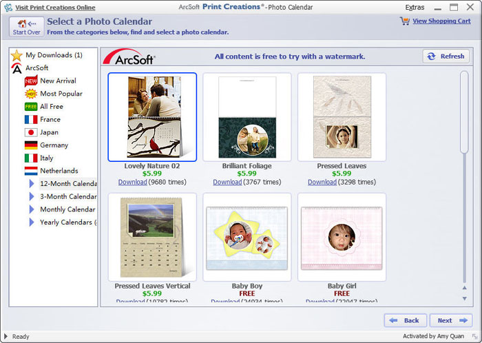 Calendar Design Software : Ams software photo calendar maker v bean substitan