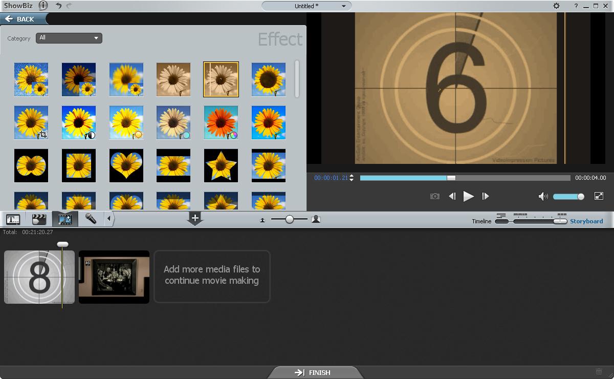 Add video effects in showbiz 5