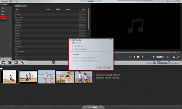 Import your audio to create a video